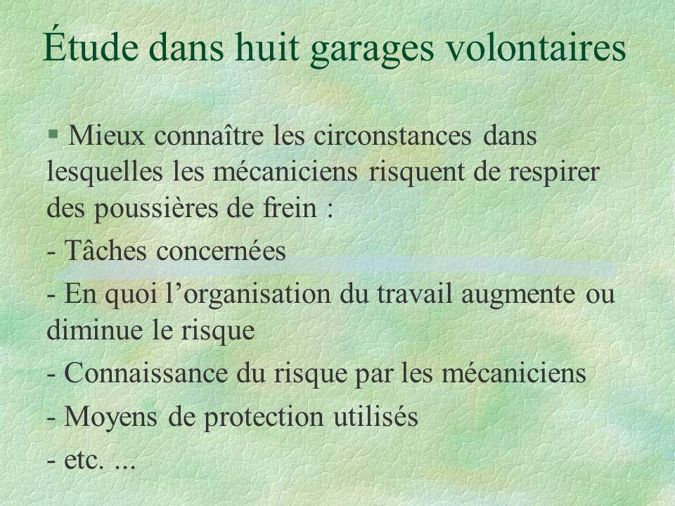 Étude dans huit garages volontaires § Mieux connaître les circonstances dans lesquelles les mécaniciens risquent de respirer des poussières de frein :