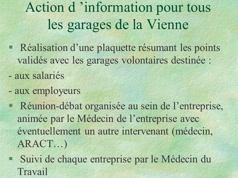 Action d information pour tous les garages de la Vienne § Réalisation dune plaquette résumant les points validés avec les garages volontaires destinée