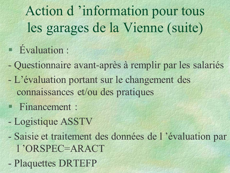 Action d information pour tous les garages de la Vienne (suite) § Évaluation : - Questionnaire avant-après à remplir par les salariés - Lévaluation po