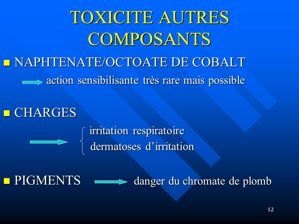 12 TOXICITE AUTRES COMPOSANTS NAPHTENATE/OCTOATE DE COBALT NAPHTENATE/OCTOATE DE COBALT action sensibilisante très rare mais possible action sensibili