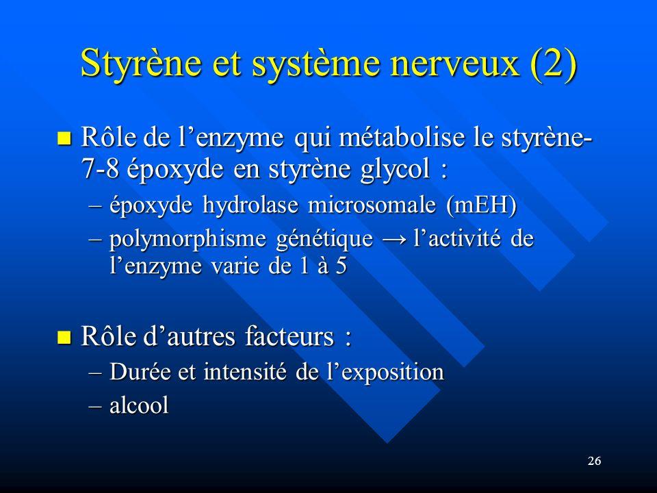 26 Styrène et système nerveux (2) Rôle de lenzyme qui métabolise le styrène- 7-8 époxyde en styrène glycol : Rôle de lenzyme qui métabolise le styrène