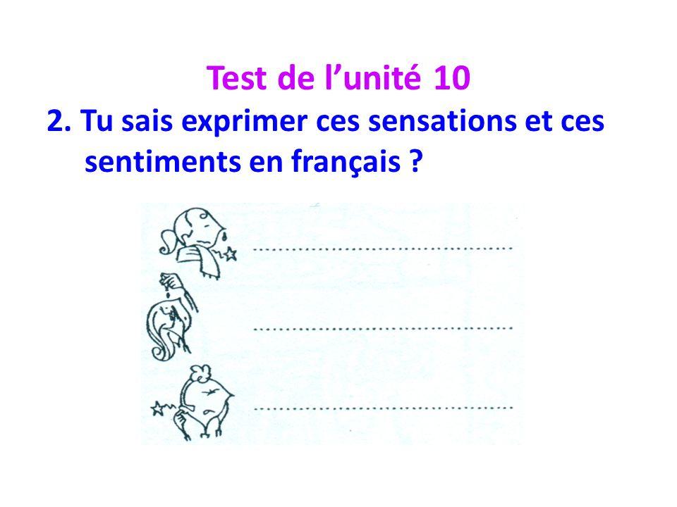 Test de lunité 10 2. Tu sais exprimer ces sensations et ces sentiments en français ?