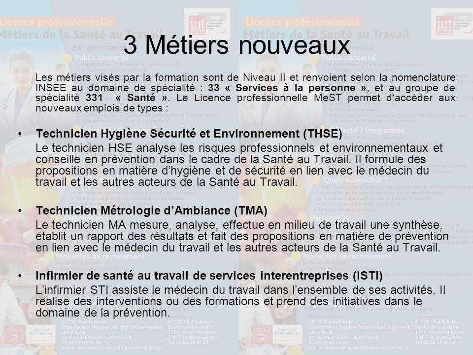 3 Métiers nouveaux Les métiers visés par la formation sont de Niveau II et renvoient selon la nomenclature INSEE au domaine de spécialité : 33 « Services à la personne », et au groupe de spécialité 331 « Santé ».