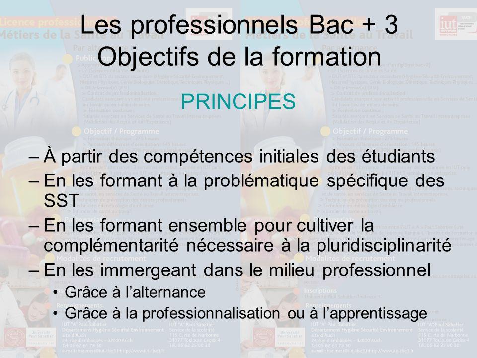 Les professionnels Bac + 3 Objectifs de la formation PRINCIPES –À partir des compétences initiales des étudiants –En les formant à la problématique sp