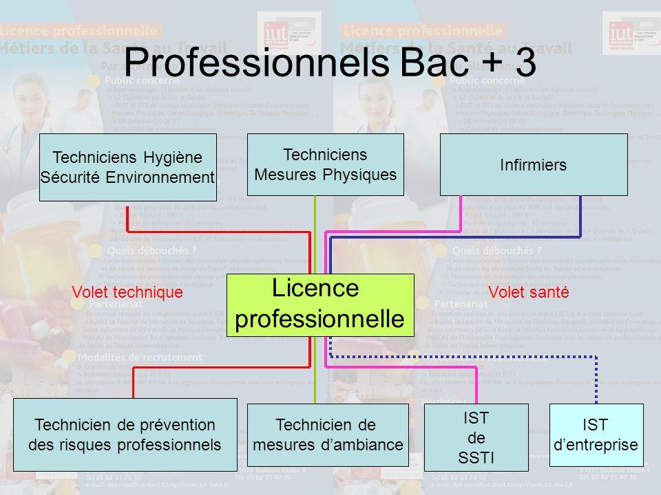 Professionnels Bac + 3 Techniciens Hygiène Sécurité Environnement Techniciens Mesures Physiques Infirmiers Technicien de prévention des risques profes