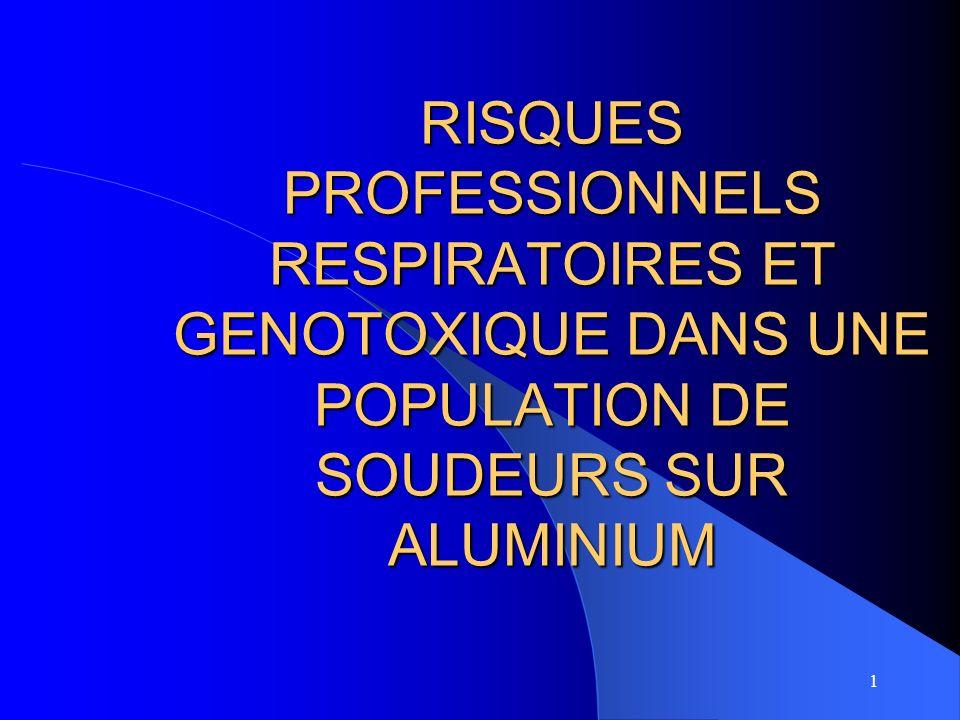 2 ETUDE Objectifs : –prévalence des pathologies respiratoires –relation à lexposition –lien exposition et valeur daluminium urinaire (IBE), –effets génotoxiques potentiels liés au travail de laluminium et à lexposition aux gaz déchappement.