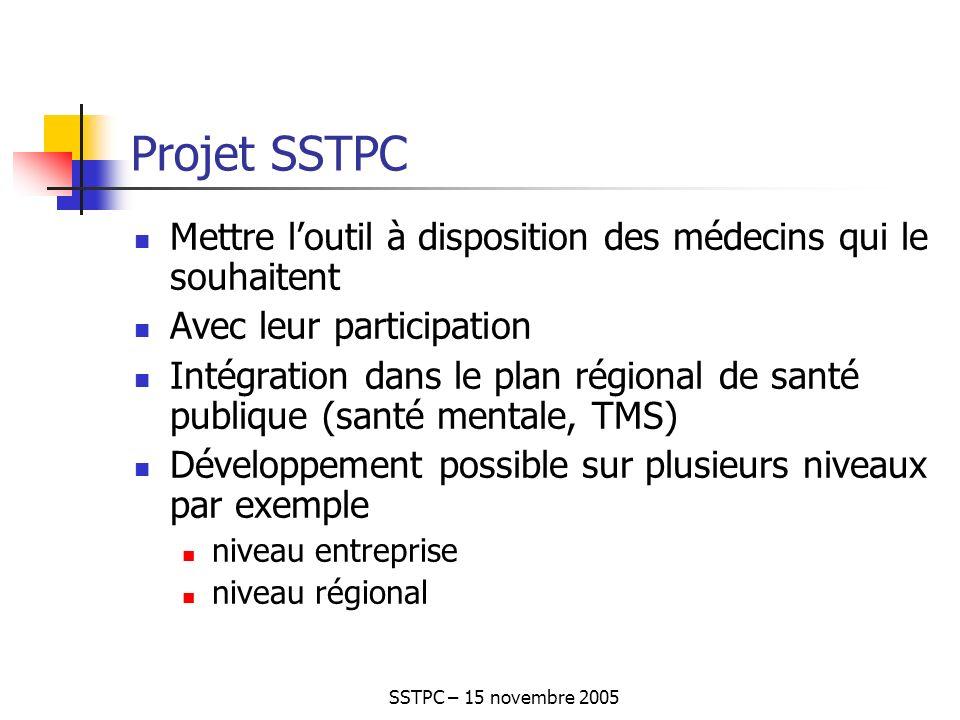 SSTPC – 15 novembre 2005 Projet SSTPC Mettre loutil à disposition des médecins qui le souhaitent Avec leur participation Intégration dans le plan régional de santé publique (santé mentale, TMS) Développement possible sur plusieurs niveaux par exemple niveau entreprise niveau régional