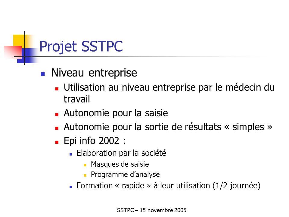 SSTPC – 15 novembre 2005 Projet SSTPC Niveau entreprise Utilisation au niveau entreprise par le médecin du travail Autonomie pour la saisie Autonomie pour la sortie de résultats « simples » Epi info 2002 : Elaboration par la société Masques de saisie Programme danalyse Formation « rapide » à leur utilisation (1/2 journée)