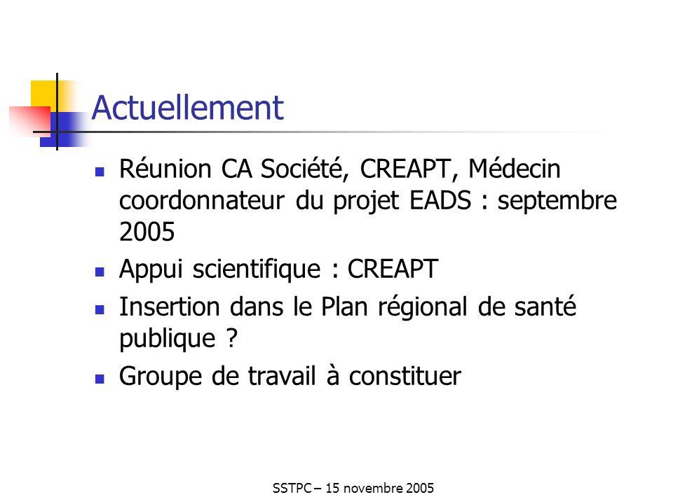 SSTPC – 15 novembre 2005 Actuellement Réunion CA Société, CREAPT, Médecin coordonnateur du projet EADS : septembre 2005 Appui scientifique : CREAPT Insertion dans le Plan régional de santé publique .