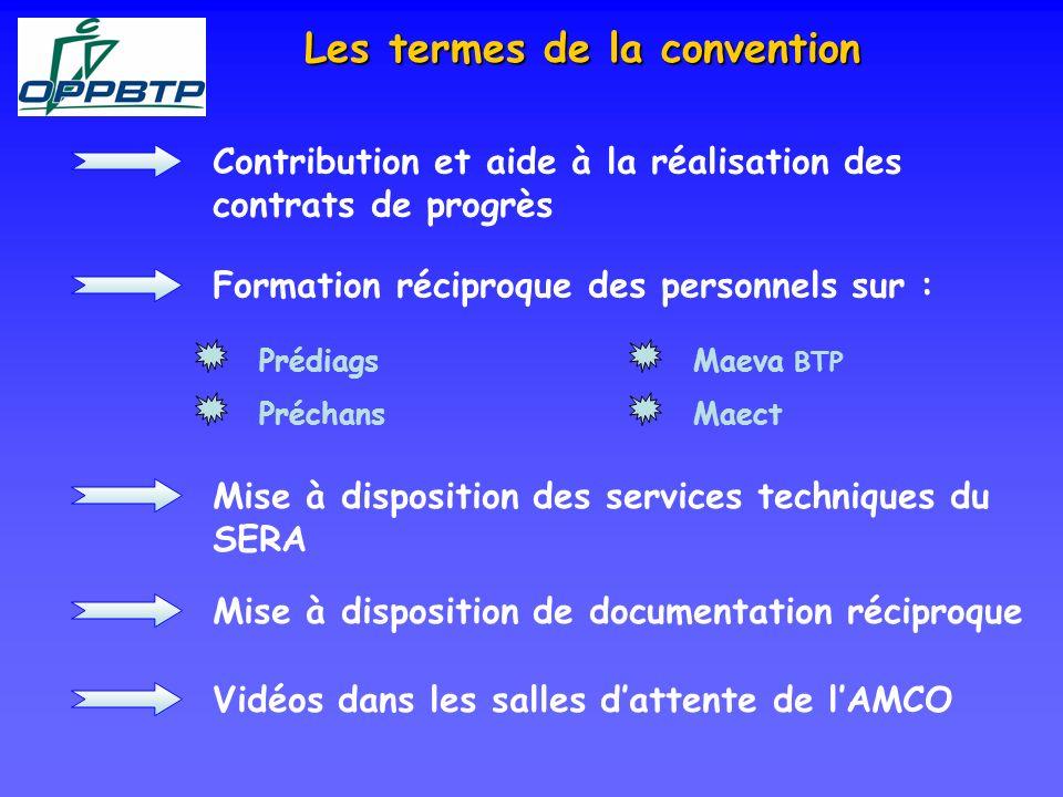 Les termes de la convention Contribution et aide à la réalisation des contrats de progrès Formation réciproque des personnels sur : Prédiags Préchans