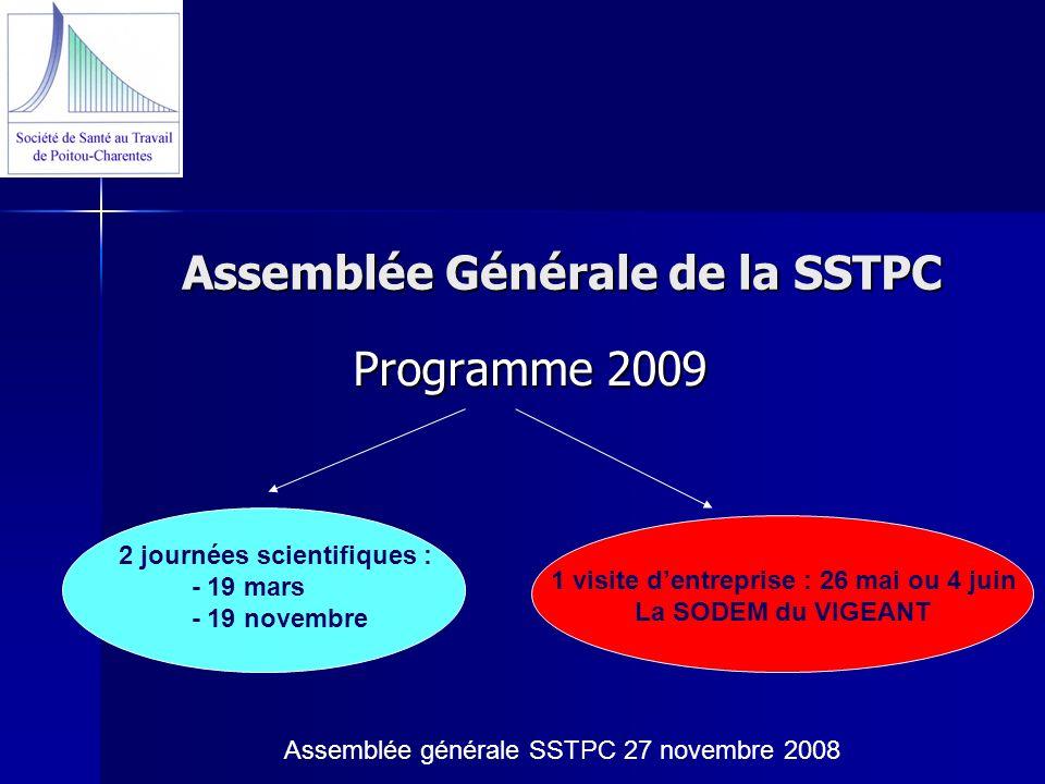 Assemblée Générale de la SSTPC Programme 2009 2 journées scientifiques : - 19 mars - 19 novembre 1 visite dentreprise : 26 mai ou 4 juin La SODEM du V