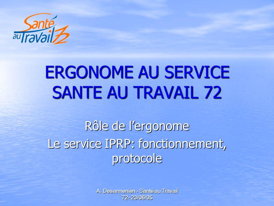 A. Desarmenien - Santé au Travail 72- 23/06/05 ERGONOME AU SERVICE SANTE AU TRAVAIL 72 Rôle de lergonome Le service IPRP: fonctionnement, protocole