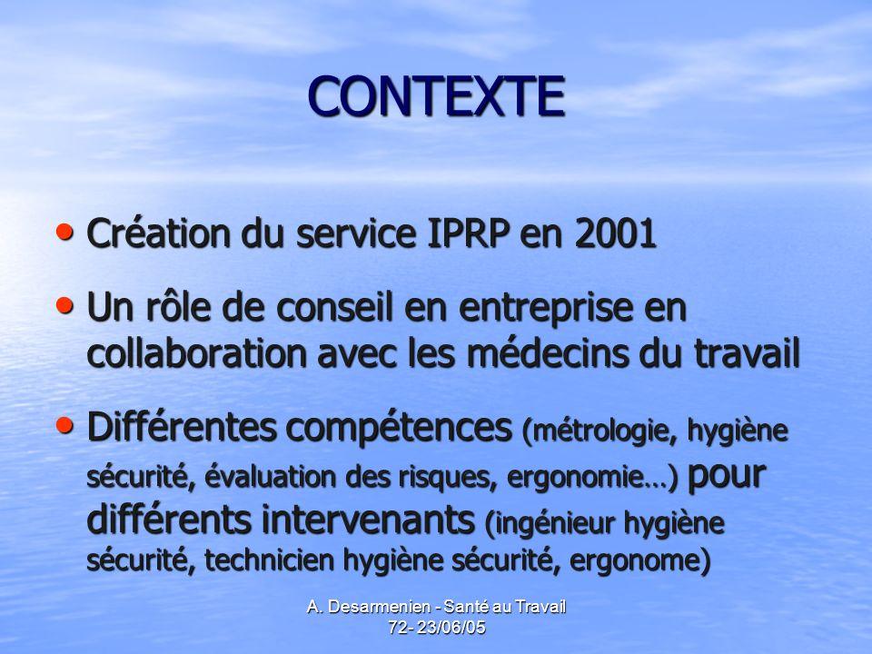 A. Desarmenien - Santé au Travail 72- 23/06/05 CONTEXTE Création du service IPRP en 2001 Création du service IPRP en 2001 Un rôle de conseil en entrep