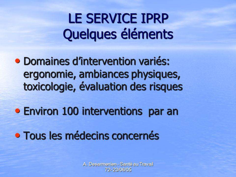 A. Desarmenien - Santé au Travail 72- 23/06/05 LE SERVICE IPRP Quelques éléments Domaines dintervention variés: ergonomie, ambiances physiques, toxico