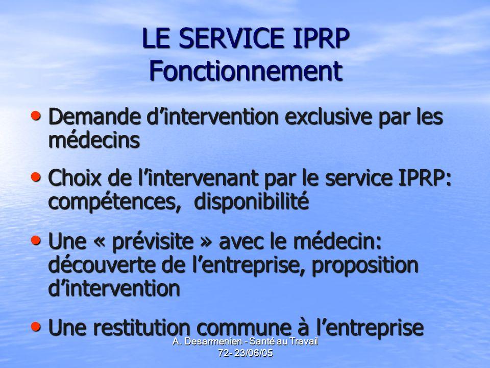 A. Desarmenien - Santé au Travail 72- 23/06/05 LE SERVICE IPRP Fonctionnement Demande dintervention exclusive par les médecins Demande dintervention e