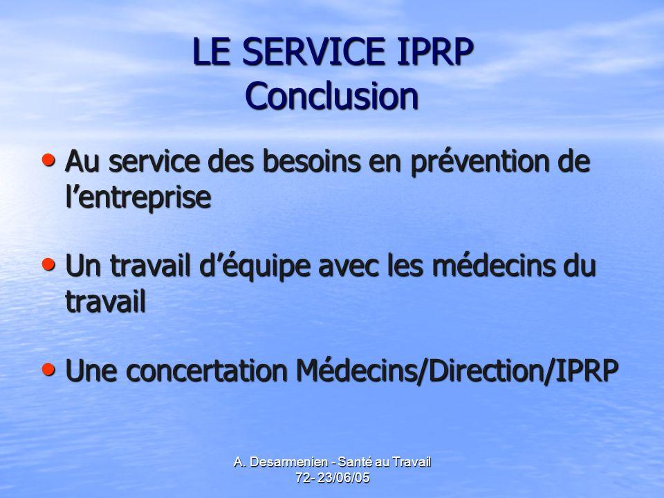 A. Desarmenien - Santé au Travail 72- 23/06/05 LE SERVICE IPRP Conclusion Au service des besoins en prévention de lentreprise Au service des besoins e