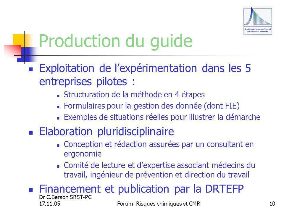Dr C.Berson SRST-PC 17.11.05Forum Risques chimiques et CMR10 Production du guide Exploitation de lexpérimentation dans les 5 entreprises pilotes : Str