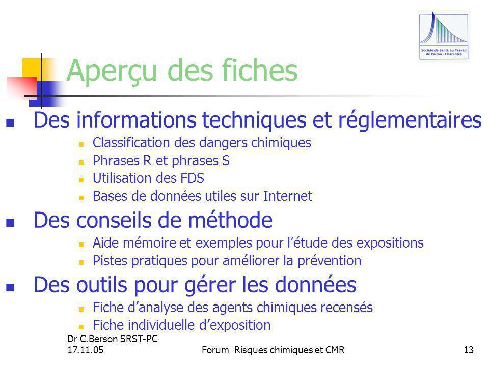 Dr C.Berson SRST-PC 17.11.05Forum Risques chimiques et CMR13 Aperçu des fiches Des informations techniques et réglementaires Classification des danger