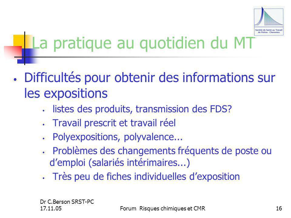 Dr C.Berson SRST-PC 17.11.05Forum Risques chimiques et CMR16 La pratique au quotidien du MT Difficultés pour obtenir des informations sur les expositi