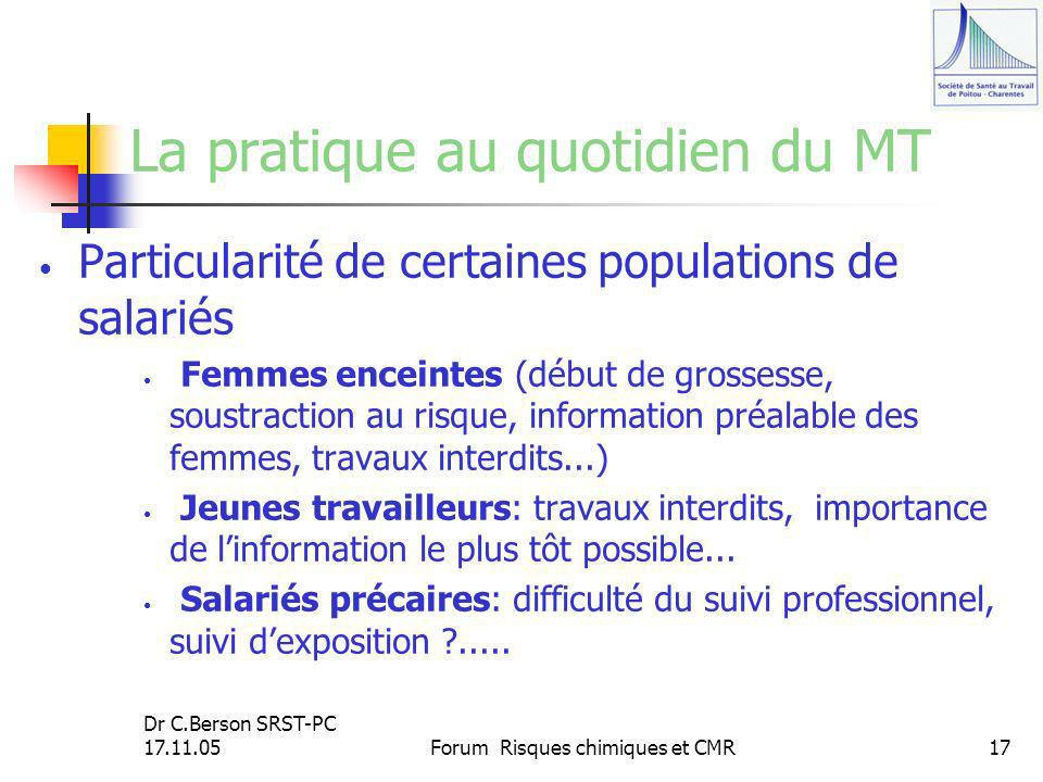 Dr C.Berson SRST-PC 17.11.05Forum Risques chimiques et CMR17 La pratique au quotidien du MT Particularité de certaines populations de salariés Femmes