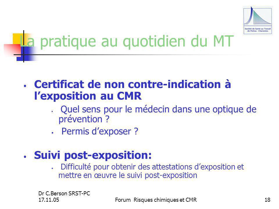Dr C.Berson SRST-PC 17.11.05Forum Risques chimiques et CMR18 La pratique au quotidien du MT Certificat de non contre-indication à lexposition au CMR Q