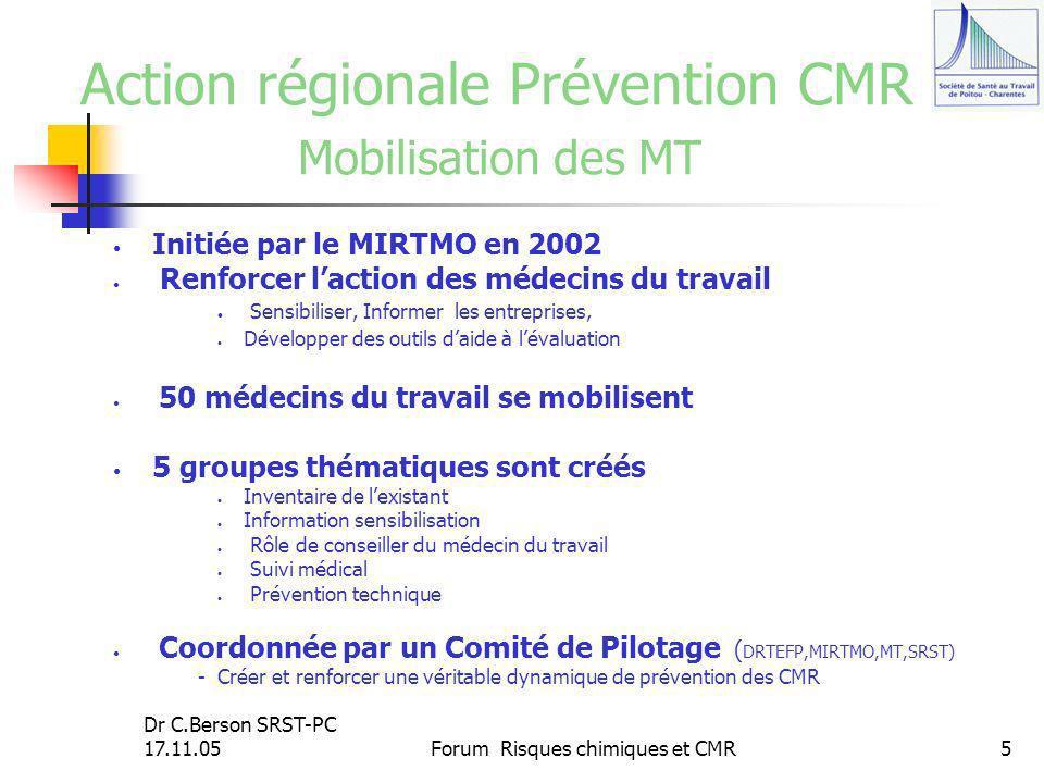 Dr C.Berson SRST-PC 17.11.05Forum Risques chimiques et CMR5 Action régionale Prévention CMR Mobilisation des MT Initiée par le MIRTMO en 2002 Renforce