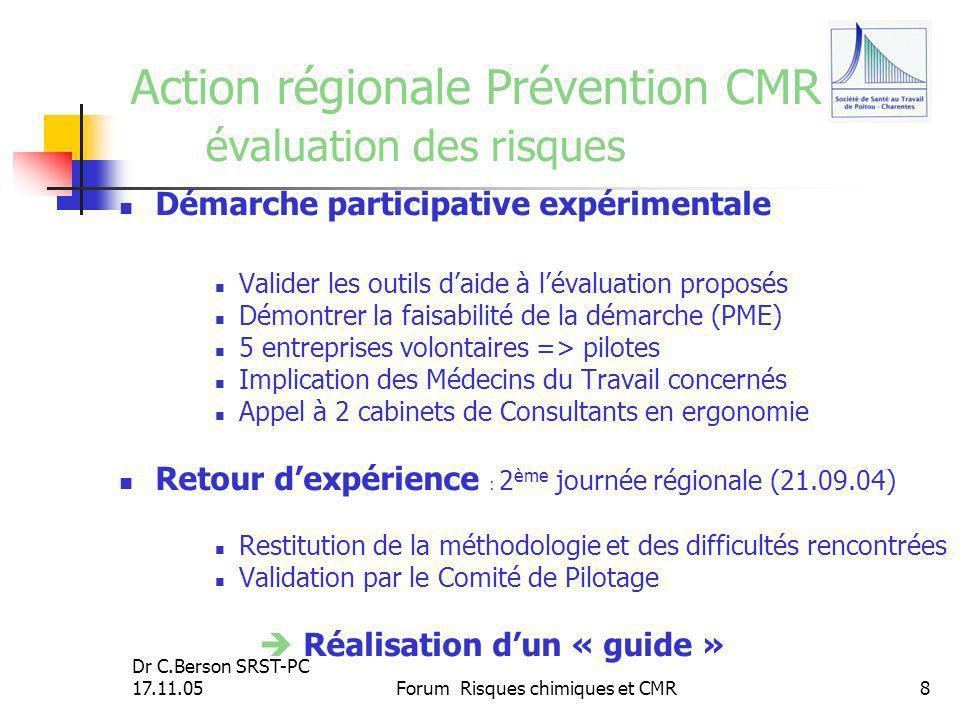 Dr C.Berson SRST-PC 17.11.05Forum Risques chimiques et CMR8 Action régionale Prévention CMR évaluation des risques Démarche participative expérimental