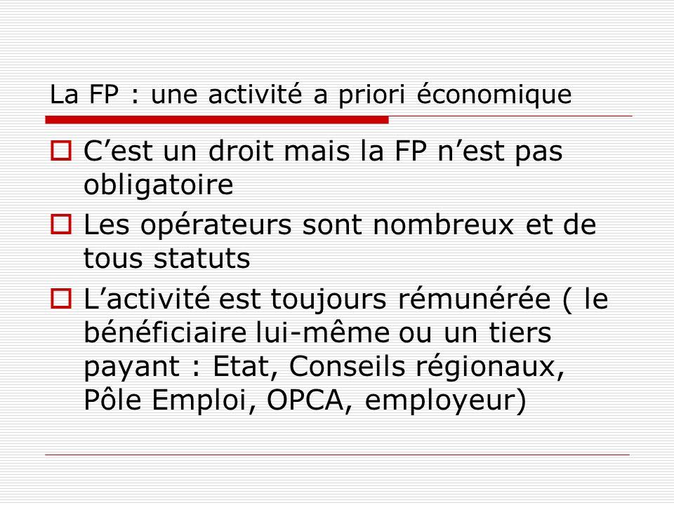 La FP : une activité a priori économique Cest un droit mais la FP nest pas obligatoire Les opérateurs sont nombreux et de tous statuts Lactivité est toujours rémunérée ( le bénéficiaire lui-même ou un tiers payant : Etat, Conseils régionaux, Pôle Emploi, OPCA, employeur)