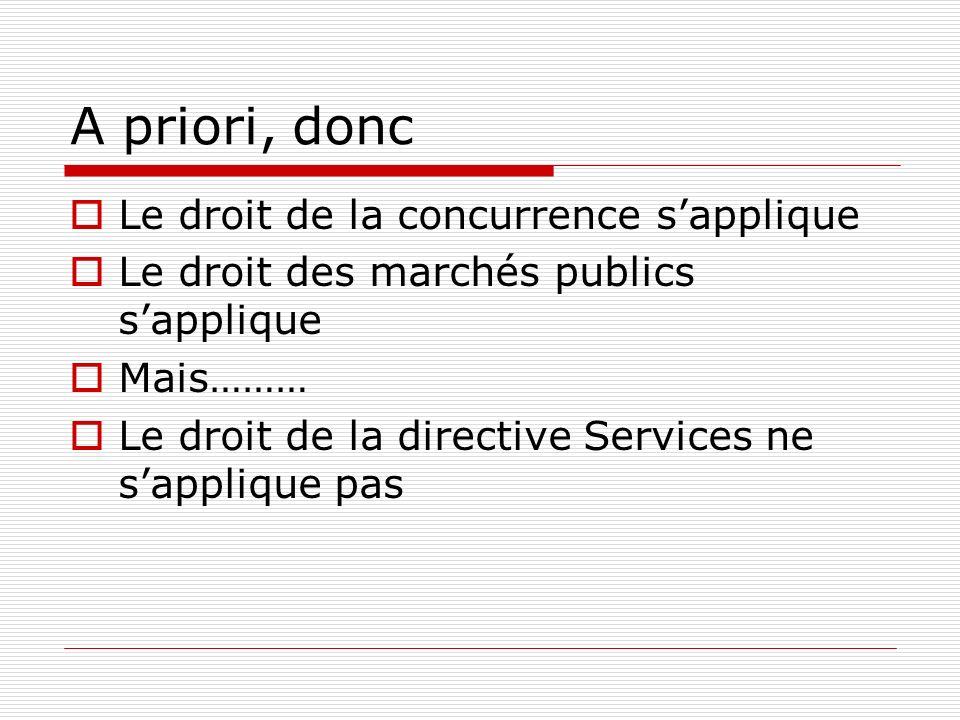 A priori, donc Le droit de la concurrence sapplique Le droit des marchés publics sapplique Mais……… Le droit de la directive Services ne sapplique pas