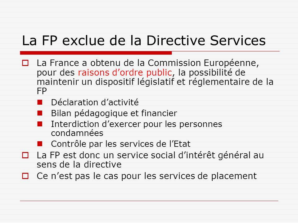 La FP exclue de la Directive Services La France a obtenu de la Commission Européenne, pour des raisons dordre public, la possibilité de maintenir un dispositif législatif et réglementaire de la FP Déclaration dactivité Bilan pédagogique et financier Interdiction dexercer pour les personnes condamnées Contrôle par les services de lEtat La FP est donc un service social dintérêt général au sens de la directive Ce nest pas le cas pour les services de placement
