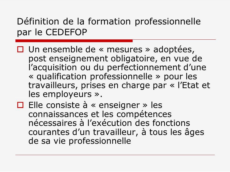Définition de la formation professionnelle par le CEDEFOP Un ensemble de « mesures » adoptées, post enseignement obligatoire, en vue de lacquisition ou du perfectionnement dune « qualification professionnelle » pour les travailleurs, prises en charge par « lEtat et les employeurs ».