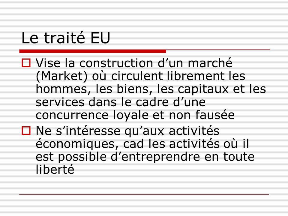 Le traité EU Vise la construction dun marché (Market) où circulent librement les hommes, les biens, les capitaux et les services dans le cadre dune concurrence loyale et non fausée Ne sintéresse quaux activités économiques, cad les activités où il est possible dentreprendre en toute liberté