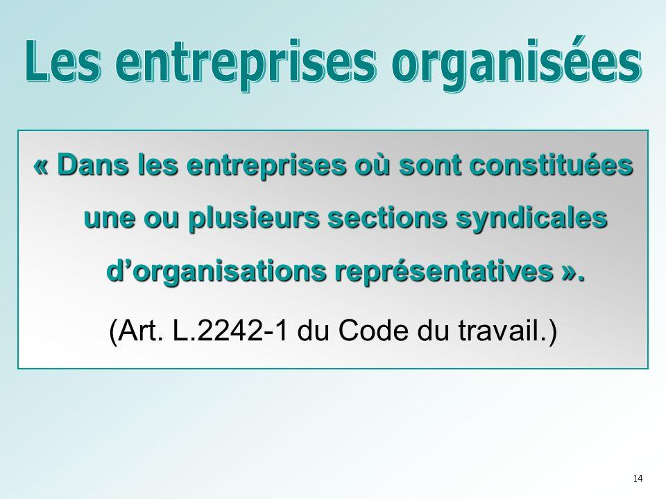 « Dans les entreprises où sont constituées une ou plusieurs sections syndicales dorganisations représentatives ».