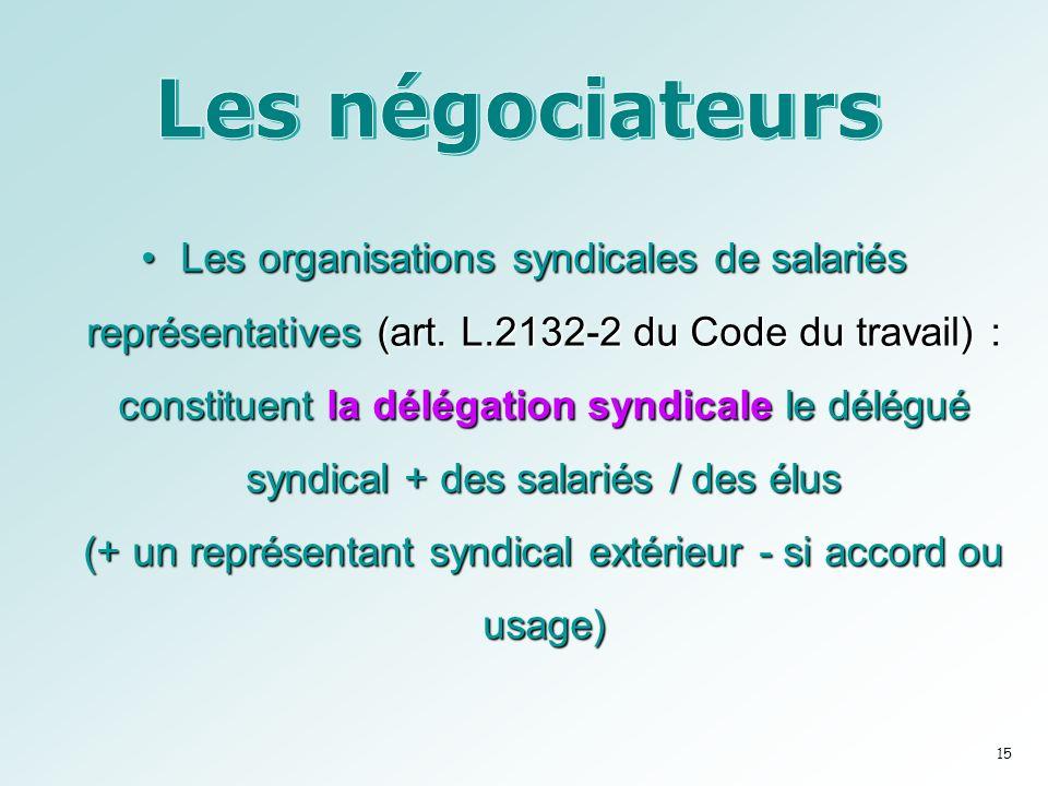 Les organisations syndicales de salariés représentatives (art.
