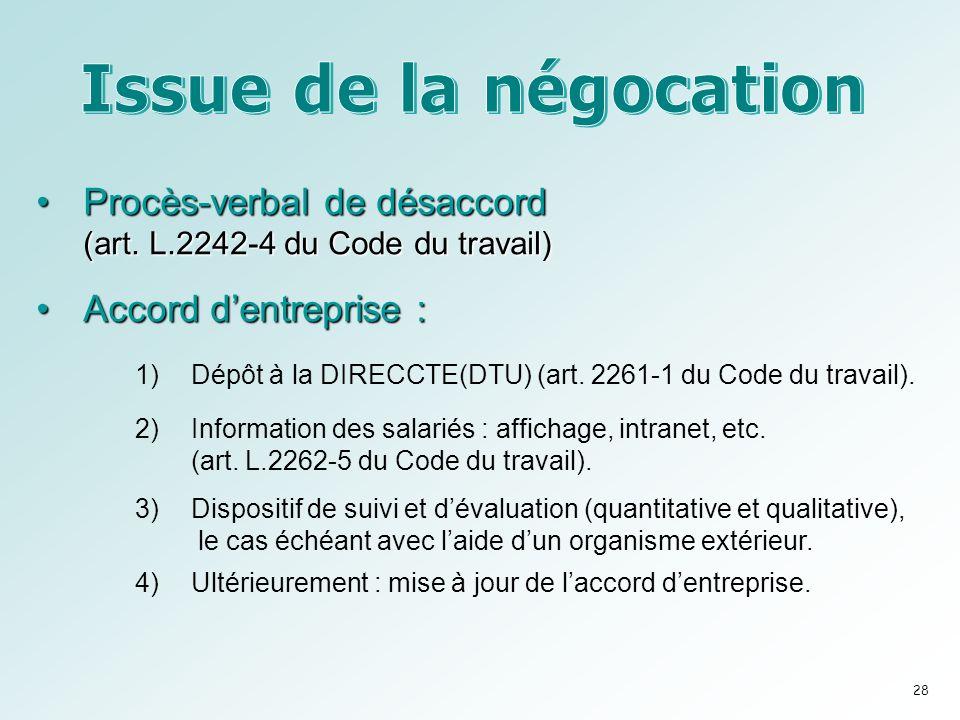 Procès-verbal de désaccord (art.L.2242-4 du Code du travail)Procès-verbal de désaccord (art.