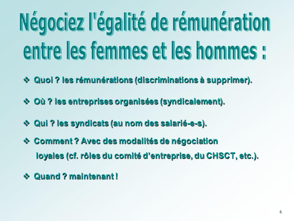 Quoi .les rémunérations (discriminations à supprimer).