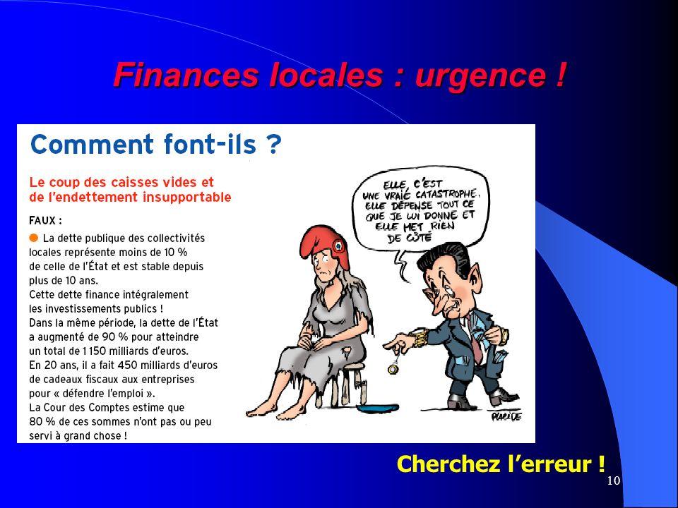 10 Finances locales : urgence ! Cherchez lerreur !