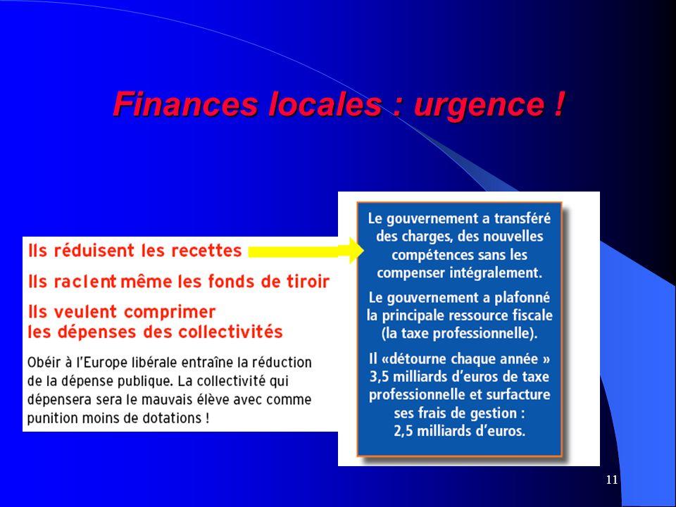 11 Finances locales : urgence !