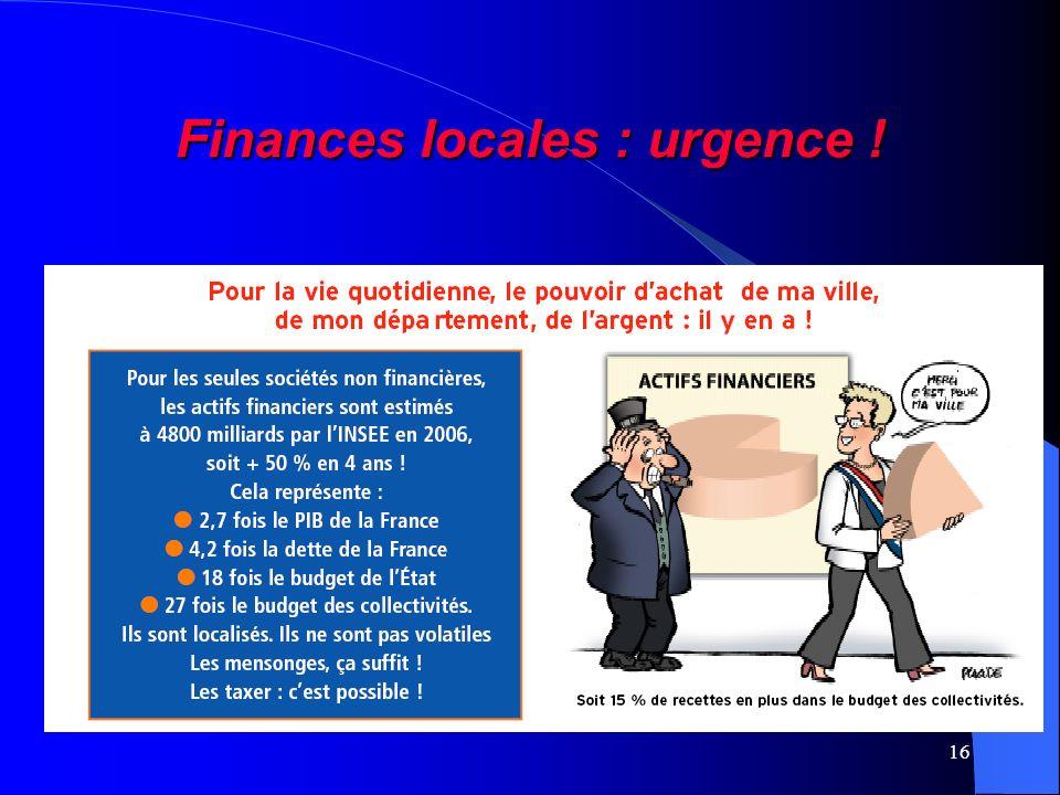 16 Finances locales : urgence !
