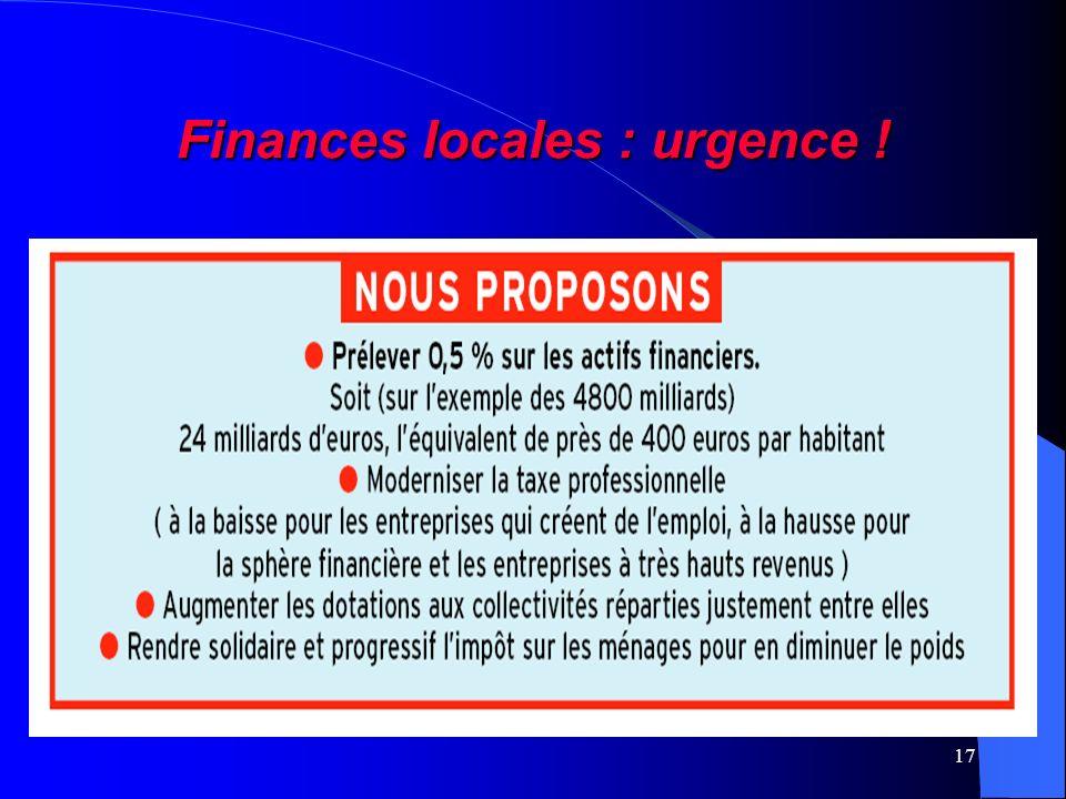 17 Finances locales : urgence !