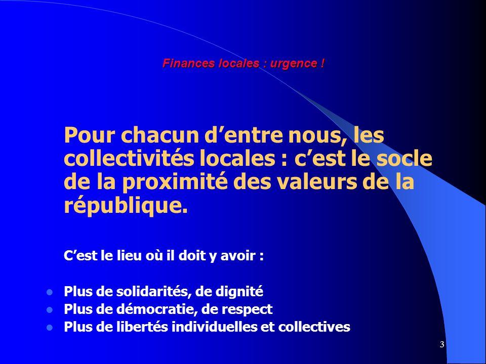 3 Finances locales : urgence ! Pour chacun dentre nous, les collectivités locales : cest le socle de la proximité des valeurs de la république. Cest l