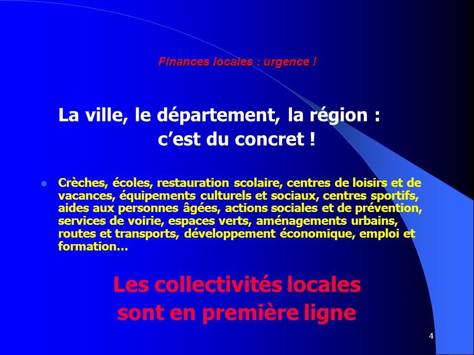 4 Finances locales : urgence ! La ville, le département, la région : cest du concret ! Crèches, écoles, restauration scolaire, centres de loisirs et d