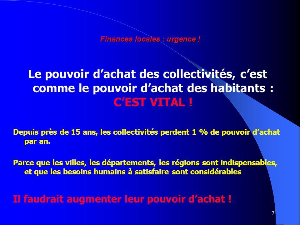 7 Le pouvoir dachat des collectivités, cest comme le pouvoir dachat des habitants : CEST VITAL .