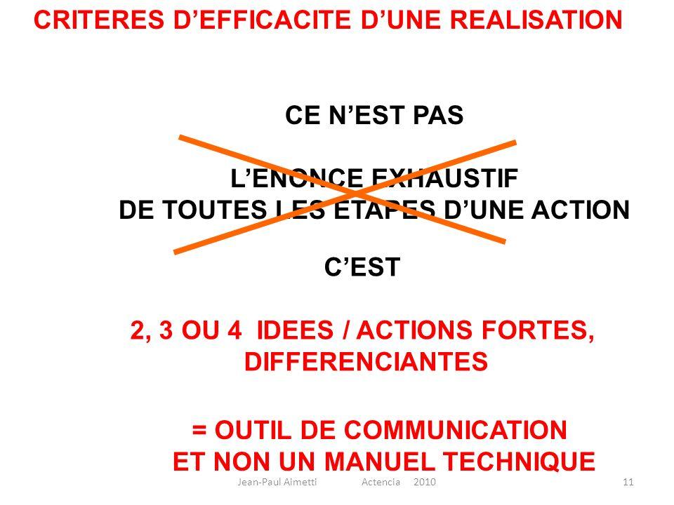 11 CE NEST PAS LENONCE EXHAUSTIF DE TOUTES LES ETAPES DUNE ACTION CEST 2, 3 OU 4 IDEES / ACTIONS FORTES, DIFFERENCIANTES = OUTIL DE COMMUNICATION ET N