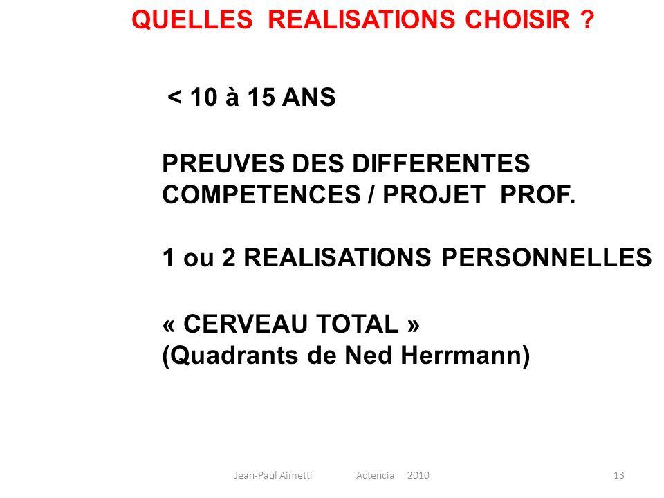 13 QUELLES REALISATIONS CHOISIR ? < 10 à 15 ANS PREUVES DES DIFFERENTES COMPETENCES / PROJET PROF. « CERVEAU TOTAL » (Quadrants de Ned Herrmann) 1 ou