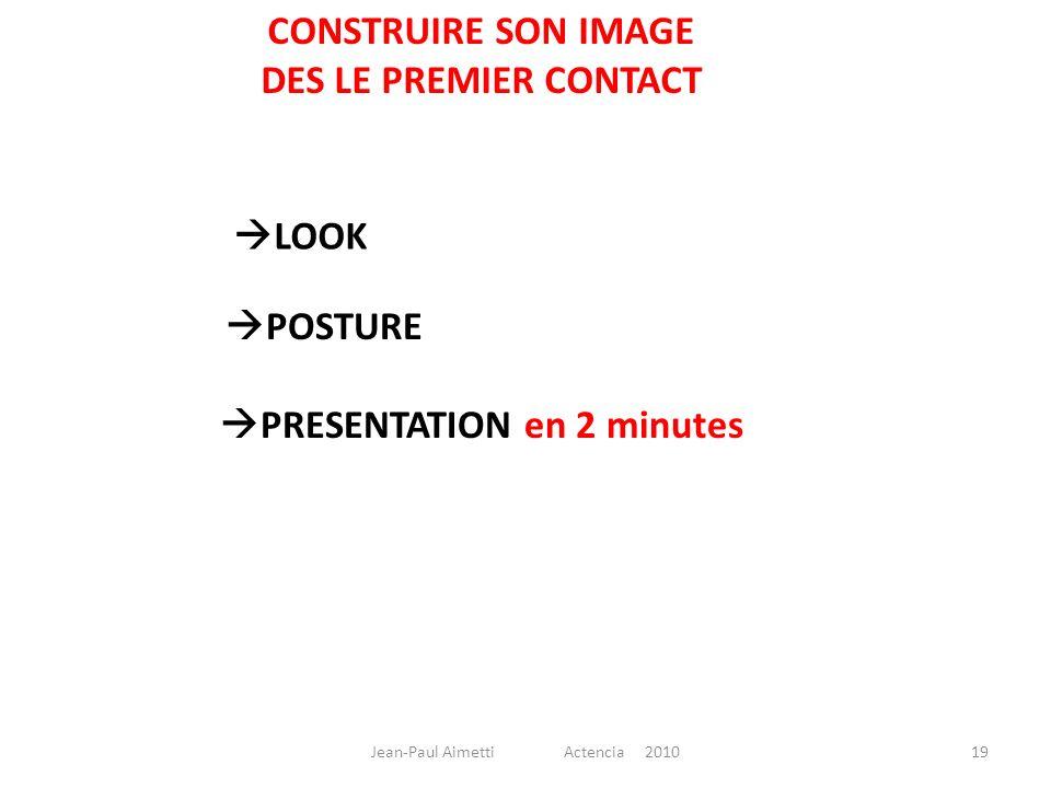 CONSTRUIRE SON IMAGE DES LE PREMIER CONTACT LOOK POSTURE PRESENTATION en 2 minutes 19Jean-Paul Aimetti Actencia 2010