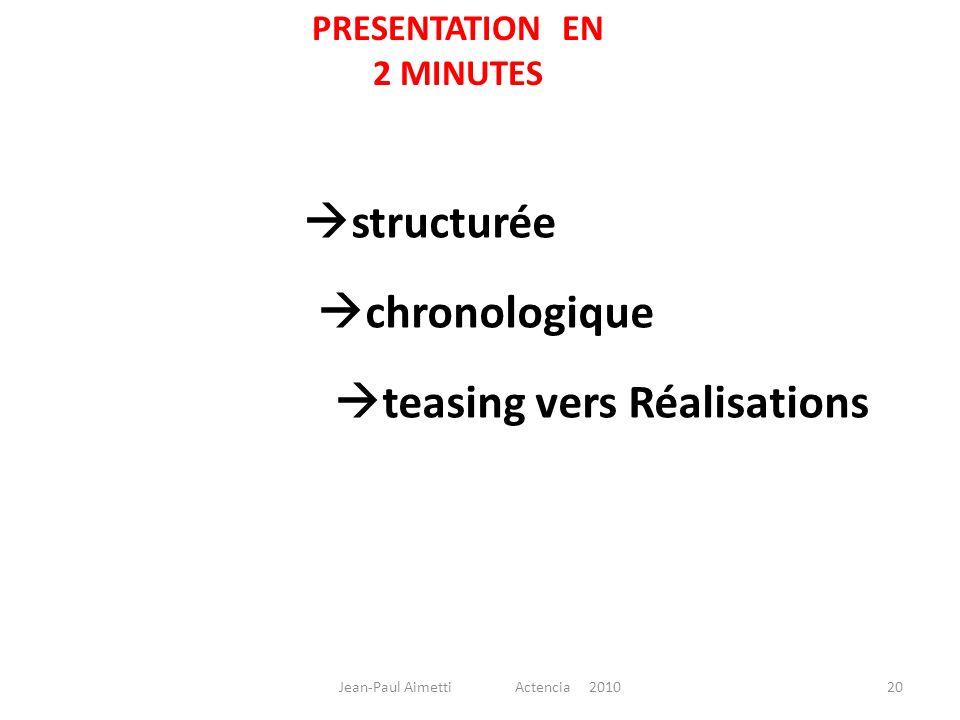 PRESENTATION EN 2 MINUTES structurée chronologique teasing vers Réalisations 20Jean-Paul Aimetti Actencia 2010