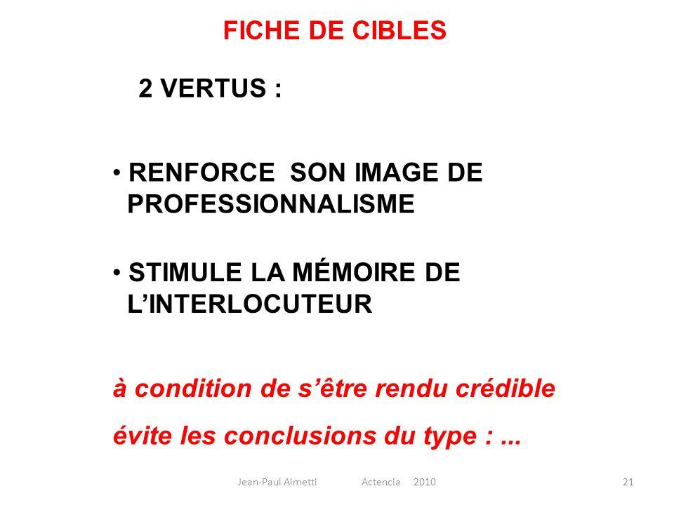 21 FICHE DE CIBLES 2 VERTUS : RENFORCE SON IMAGE DE PROFESSIONNALISME STIMULE LA MÉMOIRE DE LINTERLOCUTEUR à condition de sêtre rendu crédible évite l