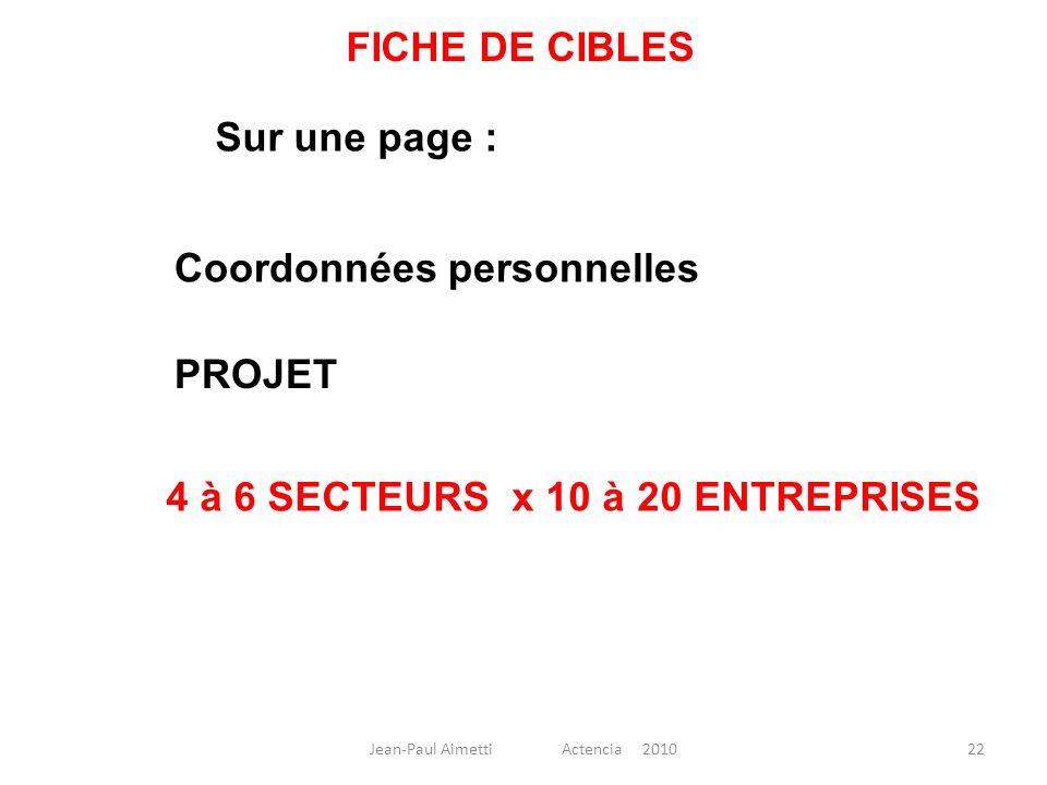 22 FICHE DE CIBLES Sur une page : Coordonnées personnelles 4 à 6 SECTEURS x 10 à 20 ENTREPRISES PROJET Jean-Paul Aimetti Actencia 2010
