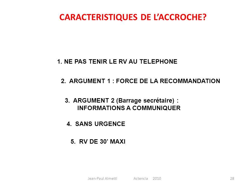 28 1. NE PAS TENIR LE RV AU TELEPHONE CARACTERISTIQUES DE LACCROCHE? 2. ARGUMENT 1 : FORCE DE LA RECOMMANDATION 3. ARGUMENT 2 (Barrage secrétaire) : I